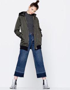 Pull&Bear - kadın - giyim - kabanlar ve ceketler - kapüşonlu bomber ceket - haki - 09710315-I2016