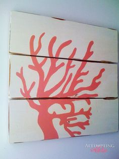 Attempting Aloha: Three Board Coral Wall Art - Take Two. - great idea for bathroom art Coral Wall Art, Coral Walls, Diy Wall Art, Diy Art, Coral Painting, Painting On Wood, Pintura Coral, Decoracion Vintage Chic, Do It Yourself Inspiration