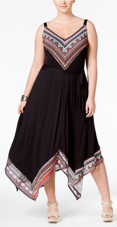 Plus Size Border-Print Handkerchief-Hem Dress