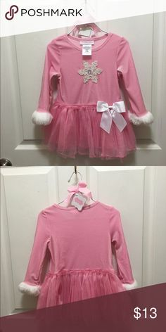 Precious Pink Snowflake 24 Mth Dress 24 month pink snowflake dress. Faux fur trim around hem and bottom of sleeves. Brand is Bonnie Baby. Worn once. Excellent condition. Bonnie Baby Shirts & Tops Blouses