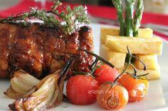 Pollo laqueado relleno y patatas Pont Neuf.