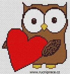 Owl, free cross stitch patterns and charts - www.free-cross-stitch.rucniprace.cz