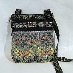Crossbody Zipped Tote, Crossbody Purse, Green, Thailand Batik, Quilted Bag, Womans Tote, Zipped Bags by rosemontbags on Etsy