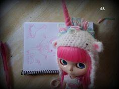 blythe pullip unicorn hat made to order by sandraohh on Etsy, $20.00