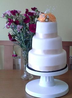 3 Tier Rose Wedding Cake