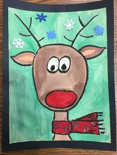 Directed reindeer drawing using oil pastels and water colors. Christmas Art Projects, Winter Art Projects, Xmas Crafts, Preschool Christmas, Christmas Activities, Kids Christmas, Tree Drawing For Kids, Art For Kids, Christmas Drawing