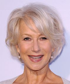 Helen Mirren is 67 years old with a hairstyle tapered into the neck with layers cut up to the top and front to compliment the face. Description from elyset.com. I searched for this on bing.com/images