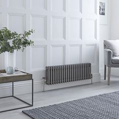Milano Windsor - Horizontal Triple Column Lacquered Raw Metal Traditional Cast Iron Style Radiator - x - A fabulous way to create an elegant feature in any room of your home, this traditional column radia - Horizontal Radiators, Column Radiators, Windsor, Electric Radiators, Old School House, Villa, Types Of Rooms, Room Dimensions, Traditional Decor
