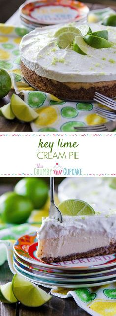 Key Lime Cream Pie: sweet and tangy key lime filling, nestled in an almond graham cracker crust and topped with a generous helping of fresh whipped cream. Pastry Recipes, Tart Recipes, Fruit Recipes, Snack Recipes, Dessert Recipes, Cookbook Recipes, Dessert Ideas, Lime Cream, Cake