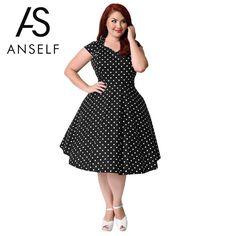 f14803f21d 3XL-9XL Women Plus Size Retro Polka Dot Dress 1950s 60s Rockabilly Swing  Dress A-Line Party Dresses female Vintage Midi