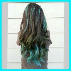brunette hair aqua highlights - Google Search