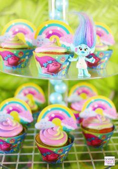 Trolls party ideas - Trolls Cupcakes