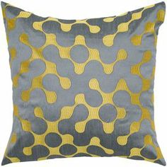 """Bring a pop of chic style to your daybed or settee with this scene-stealing throw pillow, featuring an abstract waved motif in yellow and grey.   Product: PillowConstruction Material: CottonColor: Grey and yellowDimensions: 18"""" x 18"""""""