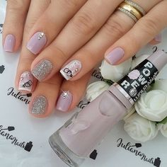 stunning nail art ideas for 16 Silver Nails, Purple Nails, Bling Nails, Brown Nails, Shellac Nails, Toe Nails, Stylish Nails, Trendy Nails, Toe Nail Designs