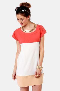 Cute Coral Dress - Color Block Dress - Sheath Dress - $32.00