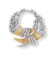 Important Estate Jewelry -Gold and Diamond Brooch - David Webb - Doyle New York