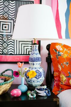 Bedside Table Styling, Mixed prints, Bright Boho Bedroom