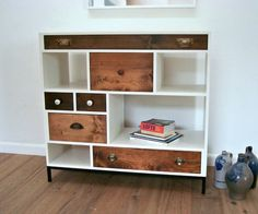 Reclaimed wood drawer console table