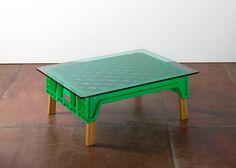 Michael Marriot coffee table  using plastic bread crate, oak legs & green glass top