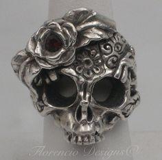 Custom Made Feminine Sterling Silver  Skull Ring