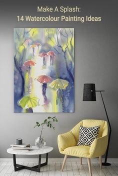 Embrace watercolour paintings from classic to contemporary and pastel to bright. Ready to make a splash?  #wallartprints #watercolour #watercolor #painting #ideas