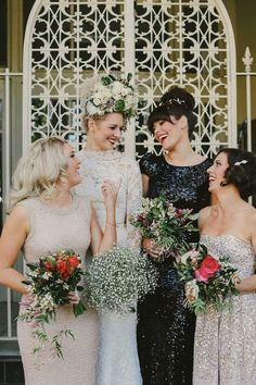 Try curating your bridesmaids dresses around a design detail rather than a color, like these bridesmaids who are all in sequins. It gives a sense of fluidity while still indulging in the mismatched wedding trend.