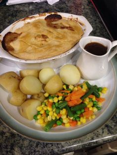 Chicken mushroom and leek Pie, new potatoes and mix veg with gravy meal finished!