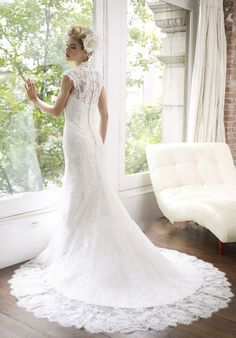 Chapel Train Lace Sheath Queen Anne Natural Waist Wedding Dress picture 2