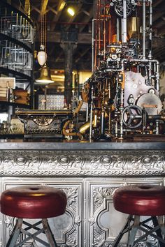 """Cape Town's much renowned and favourite coffee chain, Truth, has a headquarters that's really worth shouting about. Imagine a """"steampunk"""" inspired coffee shop in Cape Town, South … Steampunk Cafe, Steampunk Machines, Steampunk Interior, Steampunk Design, Steampunk Circus, Steampunk House, Design Shop, Design Café, Coffee Shop Design"""