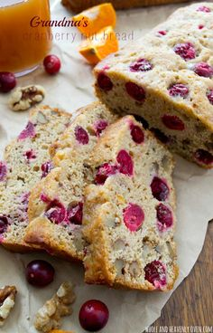 """This is my grandma's prized cranberry bread recipe!  Lightly flavored with orange, super-soft inside and chock-full of tart cranberries and crunchy walnuts, it's been deemed """"perfect"""" by everyone who tastes it! @WholeHeavenly"""