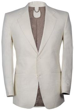 Ivory Distinguished 2-Piece Suit with khaki lining.