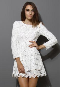Eyelet Floral Dress in White