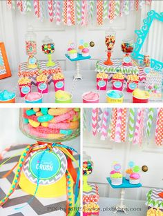 A multi patterns, multi coloured bright and colourful sweet table! This would be a great theme to have in the summer.