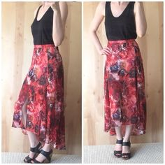 NWT Gorgeous Topshop Red Floral Skirt NWT gorgeous red floral maxi skirt w/ slit in front. Purchased for a girls night, and ended up wearing something else. It's just sitting in my closet  FLOWS BEAUTIFULLY! Pictures do not do this one justice! High-waisted with hidden zipper on side. Has nude mini skirt attached under. Perfect for a girls night, baby or bridal shower, wedding! And perfect for spring! Size is 2 but I think it fits more like a 0. I'm a 25 waist and it fits perfectly. High low…