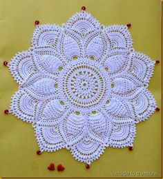 ultimate doily with beads 2 Another beauty from the Ultimate doilies. Patricia Kristoffersen's Ultimate Doily (Made to Treasure) Free Crochet Doily Patterns, Crochet Afghans, Crochet Motif, Irish Crochet, Crochet Designs, Crochet Lace, Thread Crochet, Crochet Stitches, Crochet Tutorial