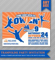 Birthday Invitation Skyzone Jump Indoor Trampoline Birthday