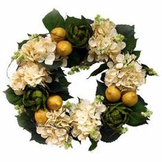 "Faux wreath with hydrangeas, lemons, and artichokes.   Product: Faux floral arrangementConstruction Material: Silk and plasticColor: Cream, yellow and greenFeatures:  For indoor useIncludes faux hydrangeas, lemons, and artichokes wreath Dimensions: 20"" Diameter x 6"" D"