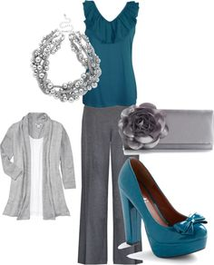 Teal work outfit, created by mckowenks on Polyvore