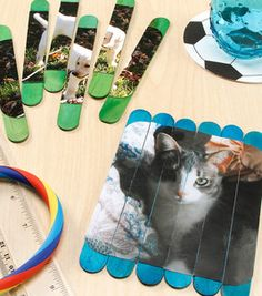 Joanns - Puzzle picture craft sticks What a great idea!  You could even make these using pictures of your students.
