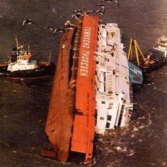 Herald of Free Enterprise disaster in 1987.  We had crossed the English Channel from Zeebrugge, Belgium, one year before in 1986 on this ferry - The Herald of Free Enterprise. It's sad to see.