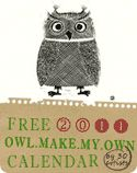 Free downloadable customizable owl calendar.  There are just too many lovely owls--I can't choose just 12!!