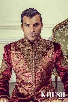 Maroon and antique gold menswear - Cuckoo Fashion www.cuckoofashion.com enquiries@cuckoofashion.com +44(0)208 471 2407 As seen in the Autumn 2013 Issue of Khush Wedding Magazine