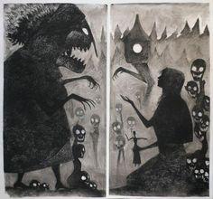 Baba yaga and vasilisa diptych by milo neuman