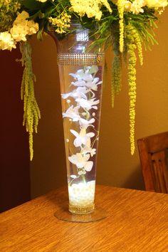 Submerged orchid centerpiece, LED light, rhinestones