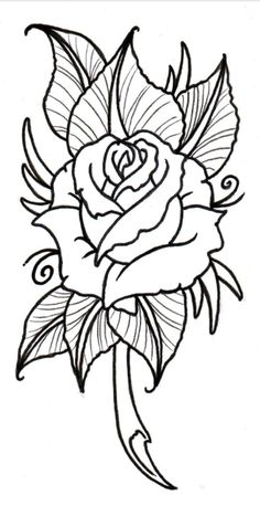 Best Photos of Rose Outline Stencil - Rose Drawing Tattoo Stencil .