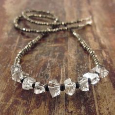 Herkimer Diamond Necklace with Pyrite Beads & by TwoFeathersNY