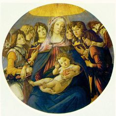 Botticelli: Madonna of the Pomegranate   Madonna and Child and six Angels, c. 1487
