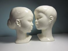 {vintage Boy and Girl Ceramic Busts}