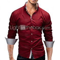 Men's Casual/Work/Formal/Plus Sizes Striped/Pure Long Sleeve Regular Shirt (Cotton) 2017 - $9.99
