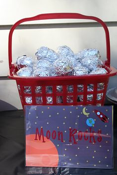 space party with lots of good ideas for food, favors and activities- love the asteroids and saturns rings!